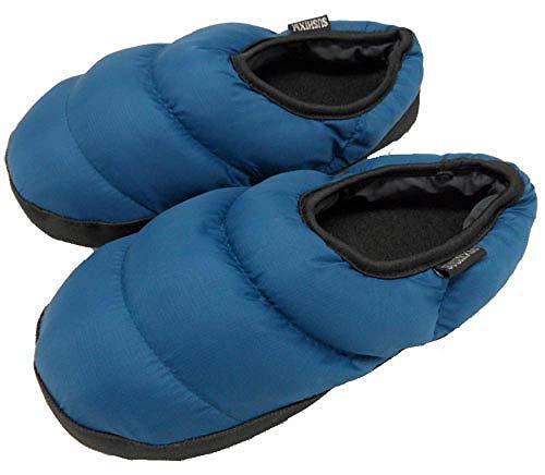 B/H Zapatillas de espuma viscoelástica para hombre, ligeras y antideslizantes, para interior, pantuflas de invierno con algodón azul oscuro, 44/45, lavables, planas para interiores y exteriores