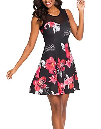 Elegante zomerjurk voor dames, zomerjurk, vakantie, kort, modieus, gevacation, cadeaus, klassiek, vintage, jurk, hoge tailleband, bedrukt zonder mouwen, bloemenmotief, net-garen, zomerjurk