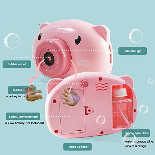 Máquina De Burbujas De Cámara Completamente Automática Jabón para Niños Sowing Toys Electric Pink Little Pig Style Sploing Toys
