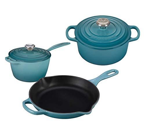 Le Creuset 5 Piece Enameled Cast-Iron SS Knob Condo Cookware Set - Caribbean