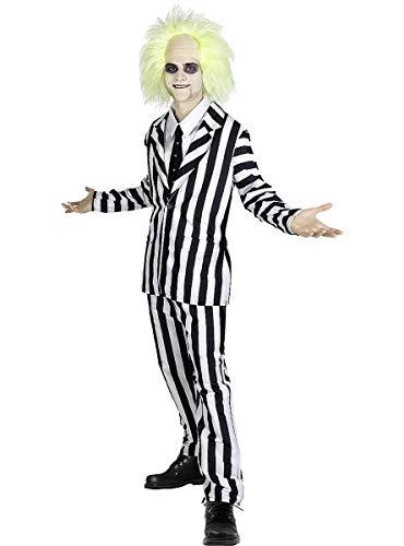 Funidelia | Disfraz de Beetlejuice Oficial para Hombre Talla XL ▶ Tim Burton, Películas de Miedo, Terror - Color: Blanco - Licencia: 100% Oficial - Divertidos Disfraces y complementos