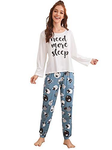 DIDK Damen Sleepwear Langarm Shirt und Lange Schlafanzughose Pajamahose Pajama...