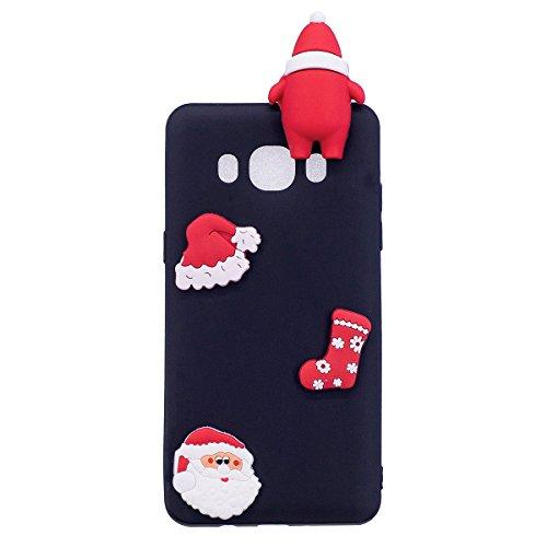 Coque Compatible avec Samsung Galaxy J7(2016),Cadeau De Noël Liquide Silicone Antichoc Souple TPU Étui Ultra Mince 3D Motif Housse Absorption de Choc Protection Christmas Poupée Bumper,Père Noël Noir