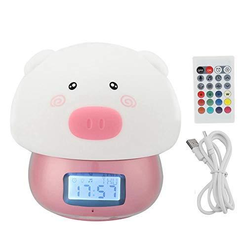 ZBBN Grow-Recording Sound Cerdo Reloj Despertador Control Luz Nocturna LED USB Wake-up Silicona Tap Lamp (Rojo)