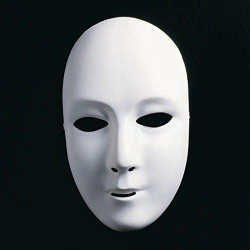 NET TOYS Weiße Unbemalte Frauenmaske Neutrale Phantom Maske Frauengesicht Maske Opernmaske Ballmaske Karnevalsmaske Faschingsmaske