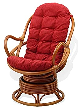 Lounge Swivel Rocking Rattan Wicker Java Chair w/Red Cushion Colonial Color