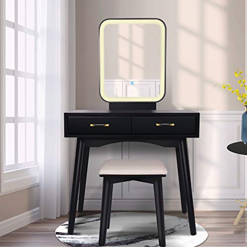 Vanity Table Set with Lighted LED Touch Screen Dimming Mirror,Makeup Dressing Table with 2 Sliding Drawers, 1 Cushioned Stool for Bedroom, Bathroom (Black)