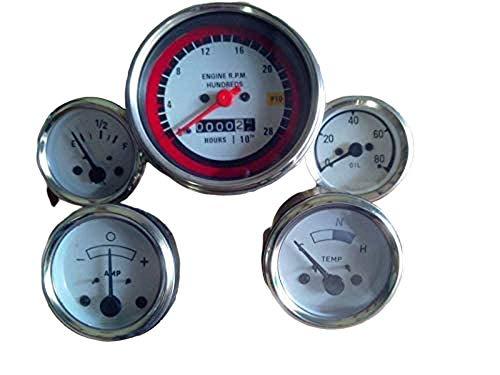 Oliver Kit de jauges de pression d'huile pour tracteur Tacho, Temp.Amp.Carburant - 1550, 1650, 1750, 1755, 1850, 1855, 1950, 1955, 2050, 2150 cm - Cadran blanc