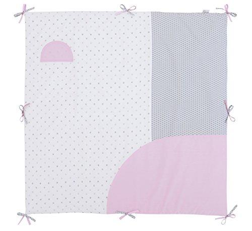 P'tit Basile - Tapis matelas de parc - tapis d'éveil - 100x100 cm - avec nouettes - Coton Bio - Claudine