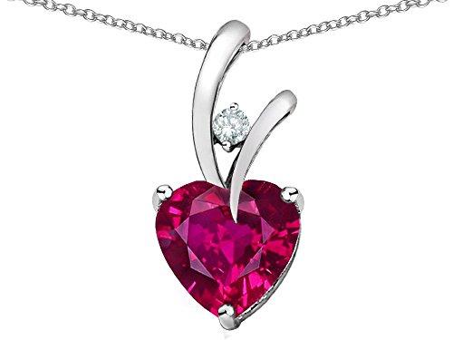 Original Star K(tm) Heart Shape 8mm Created Ruby Pendant in .925 Sterling Silver: Star K