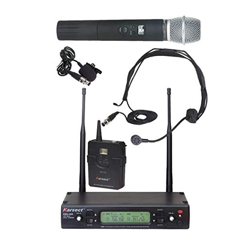 Karsect KRU-482 KST7U-KLT7 Kabelloses 48-Kanal-Mikrofon-Set mit Handmikrofon und Sender für Headset oder Clip-on-Mikrofon