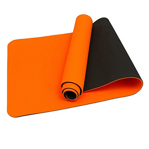 Colchoneta de yoga Entrenamiento Colchoneta de ejercicio Gym Fitness Pilates Alfombrillas antideslizantes TPE Gym Mats Sports Indoor Fitness Pilates Yoga Pad 183x61x0.6cm-Orange