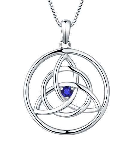 YL Celtic Knot Necklace Sterling Silver Created Sapphire Love Knot Pendant Trinity Knot Jewelry