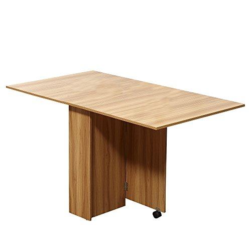 HOMCOM Mobiler Tisch Klapptisch Schreibtisch Beistelltisch Ablagefläche mit Rollen Natur Beistelltisch Esszimmertische