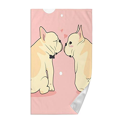 Dujiea Valentines Cute French Bulldog Kitchen Dish Towel Soft Highly Absorbent Hand Towel Home Decorative Multipurpose for Bathroom Hotel Gym and Spa 15 X 27 Inches