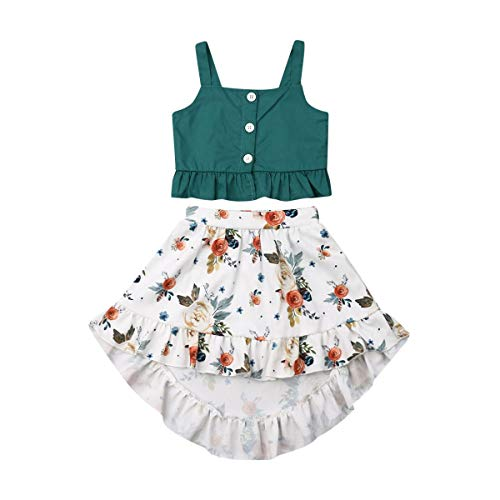 Toddler Baby Girls Ruffle Strap Top+Boho Floral Skirt Summer Outfit Clothes Two Piece Set (Green Crop Top+White Floral Skirt, 3-4T)