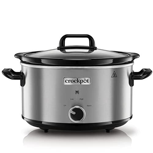 Crock-Pot Slow Cooker Pentola per Cottura Lenta, Capienza 3.5 l, Adatta Fino a 4 Persone, 210 W, Argento