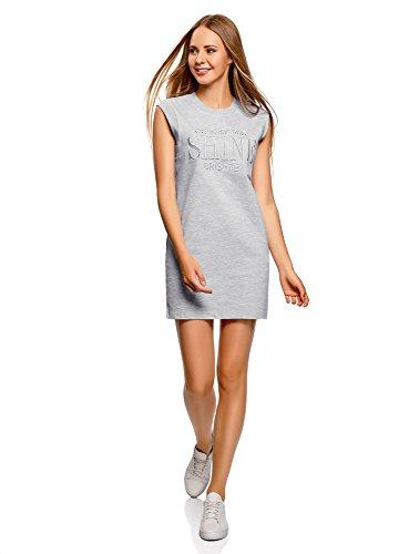 oodji Ultra Damen Baumwoll-Kleid im Sport-Stil, Grau, DE 36 / EU 38 / S
