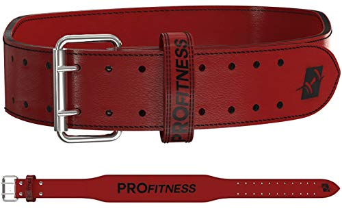 ProFitness Genuine Leather Weight Lifting Belt | Proper Weightlifting Form for Squats, Deadlfits, Powerlifting & Cross Training (Red/Black, Small)