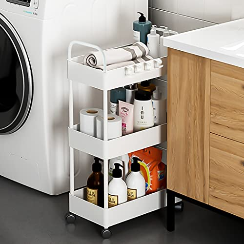 Conworld 3 Tier Rolling Storage Cart,34 inchs Taller Version Narrow Bathroom Cart Organizer, Laundry Cart, Mobile Shelving Unit with Handle for Kitchen Laundry Room,Plastic & Stainless Steel,White