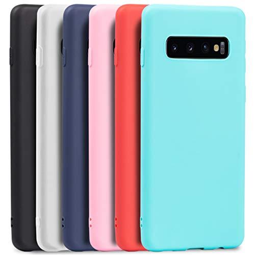 Wanxideng - 6X Funda para Samsung Galaxy S10, Carcasa en Silicona - [ Negro + Blanco Translúcido + Azul Oscuro + Rojo + Rosado + Menta Verde ]