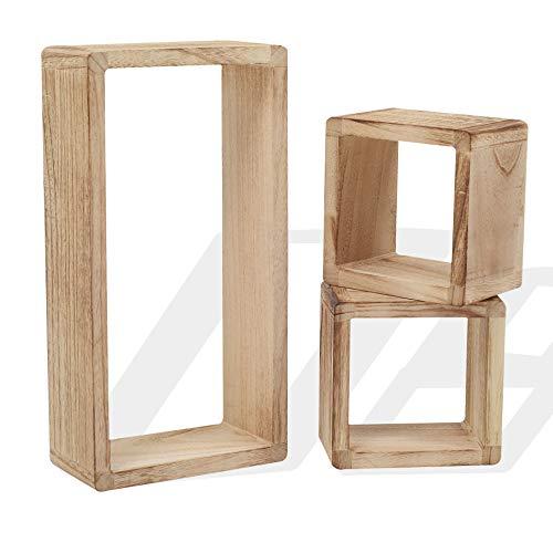 Rebecca Mobili Juego 3 estantes Vintage, estantes Colgantes, 1 rectángulo 2 Cubos, Madera Clara, para Sala de Estar - Medidas: 41 x 21 x 9 cm (AxANxF) - Art. RE4121