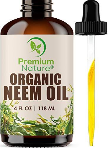 Organic Neem Oil For Skin - Neem Oil for Hair, 100% Pure Neem Oil Cold Pressed Moisturizer Neem Oil for Essential Oil Mixing Neem Oil Organic Massage Oil 4 oz