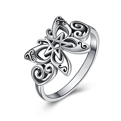 Butterfly Ring Sterling Sliver Celtic Viking Butterfly Ring Skull Butterfly Jewelry Gothic Gifts for Women Girl Her (7)