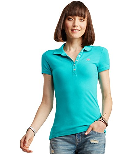 AEROPOSTALE Womens A87 Polo Shirt, Green, Medium