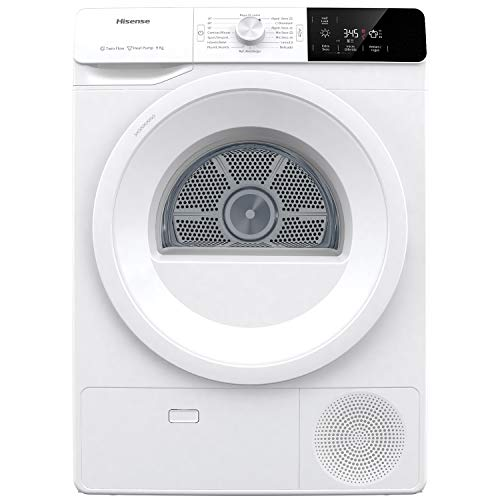Hisense DHGE901 Asciugatrice in Pompa di Calore, 9 Kg, Tecnologia Twin Air, Display Digitale, Bianco