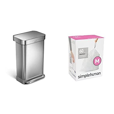 simplehuman 45L Rectangular Step Trash Can with Liner Pocket, Nano-Silver Clear Coat Brushed Stainless Steel, with 60 pack custom fit liner code M