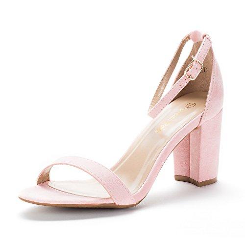 DREAM PAIRS Women's Chunk Pink Low Heel Pump Sandals - 8.5 M US