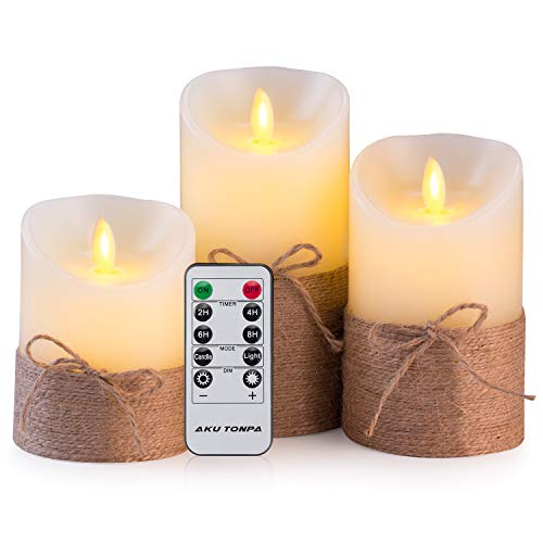 Aku Tonpa Flameless Candles Battery Operated Pillar Real Wax Electric LED Candle Gift Set with Remote Control and Timer, 4' 5' 6' Pack of 3 (Ivory Wax with Hemp Rope)