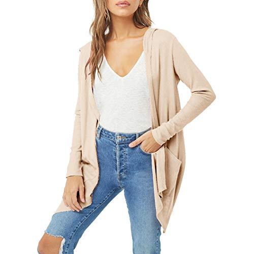 Dames Lange mouwen Casual Cardigan=Mode Dames Lichtgewicht Front Open Sjaal Effen Kimono Top Katoen Cover Up Blouse