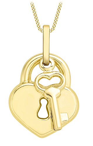 Carissima Gold 9ct Yellow Gold Heart Padlock and Key Pendant on Curb Chain Necklace of 46cm/18'