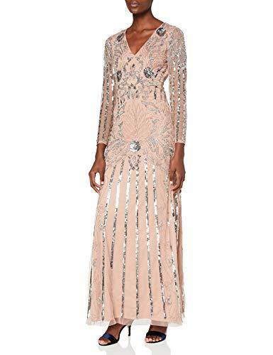 Amelia Rose Dames verfraaid maxi-jurk met lange mouwen