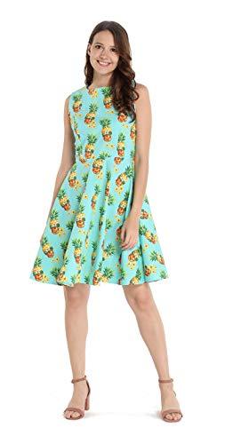 Hawaii Hangover Damen Vintage Fit und Flare Kleid in Halloween Ananas Totenkopf mit Sonnenbrille - - XX-Large