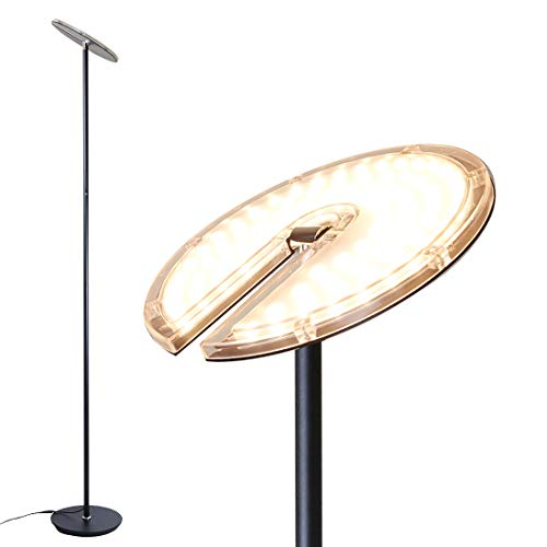 O'Bright Dimmable LED Torchiere Floor Lamp, 270° Tilt Head, 3-Level Adjustable Brightness, Standing Pole Lamp/Reading Light/Floor Lamps for Living Room, Bedrooms, Dorm and Office, Black