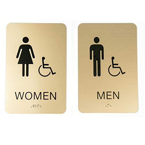 SBLABELS Men & Women ADA Restroom (Bathroom) Sign Set w/Braille (Gold)