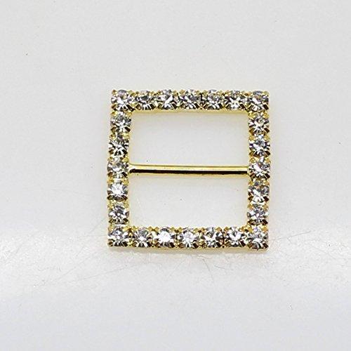 Lot de 20 21 mm x 21 mm en forme de carré strass Boucle coulissant pour mariage Invitation Lettre