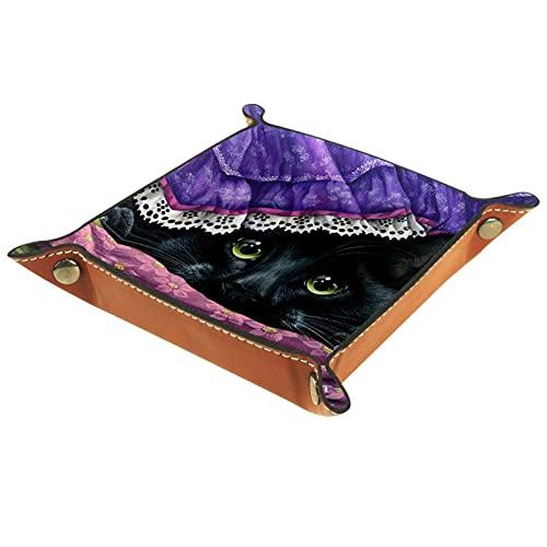 DEDEF Bandeja de dados, plegable, de piel sintética, para juegos de dados, para el hogar, almacenamiento de gatos, 20,5 x 20,5 cm