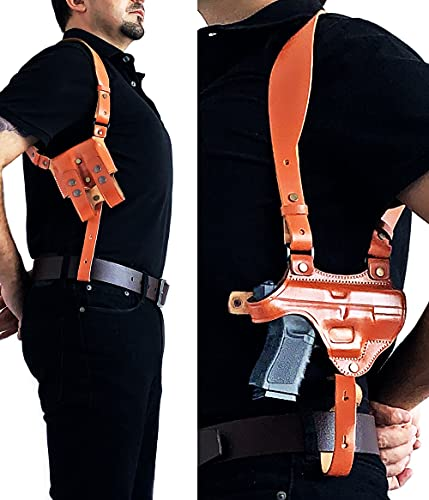 Rig for Glock 19 Leather Shoulder Holster System with Mag Pouch Fits...