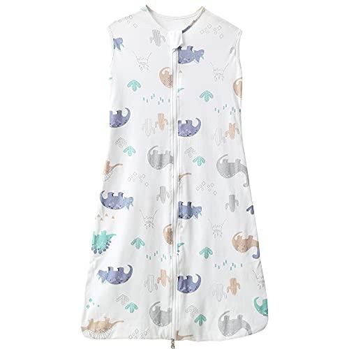 Schlabigu Gigoteuse fine en coton pour bébé/nouveau-né fille et garçon Convient pour le printemps et l'été TOG 0,5 (110 cm (18 à 36 mois), motif dinosaures, blanc)
