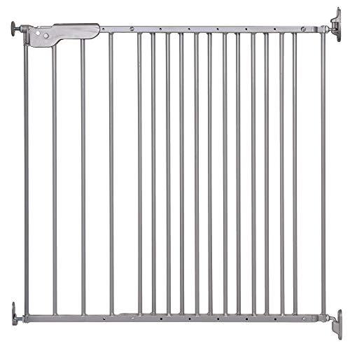 DOLLE Türschutzgitter | Treppenschutzgitter aus Metall | Farbe: Grau | Breite: 74,4-113 cm | Schwenkbares Kindersicherheitsgitter mit Einhand-Sicherheitsverschluss | TÜV/GS geprüft | zum Schrauben