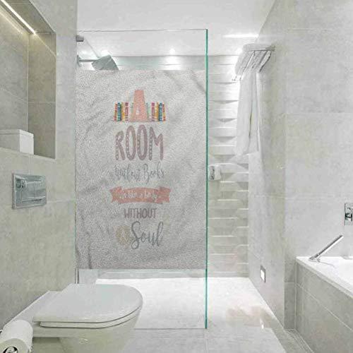 Pegatinas de vidrio para ventana de ducha, estante de libros y una cita, para la empresa baño puerta de cristal de la película de la ventana, 59.6 cm de ancho x 89.9 cm de largo