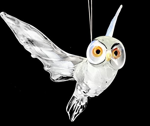 Schneeeule Hängend - Weiße Eule Polareule - Figur aus Glas Vogel Flügel Deko