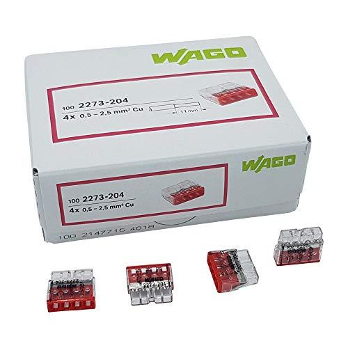 50 Stück Wago 2273-204 COMPACT-Verbindungsdosenklemme Ø 0,5-2,5 mm², 4-polig, transparent/rot