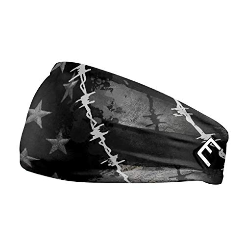 Elite Athletic Gear 50+ Designs! Unisex Headband/Sweatband. Best for Sports, Fitness, Working Out, Yoga. Tapered Design (Barbed Wire Flag)