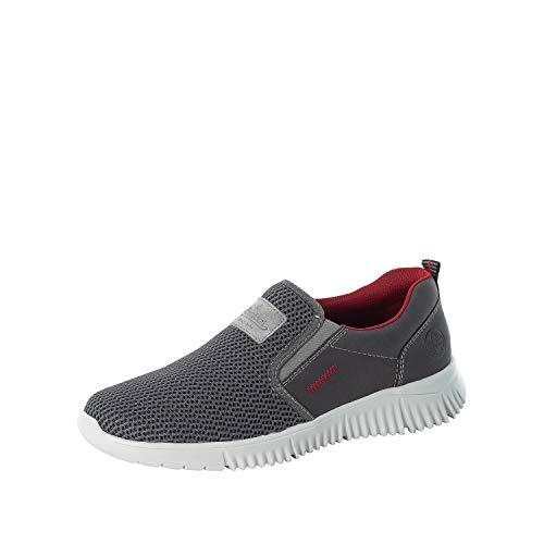 Rieker Hombre Zapatos Bajos B7561, de Caballero Zapatillas,Pantuflas,Zapatillas,Zapatos Informales,Entrada Abierta,Gris (Grau / 46),46 EU / 11 EU