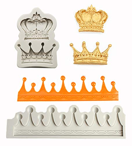 2 Pieces DIY 3D Grey Crown Fondant Mold Crown Silicone Sugar Craft Mold Fondant Mold Cake Topper Decorating Tools